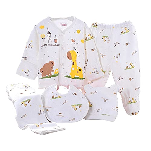 196e23e5b WANGSAURA Baby Infant 5pcs Cotton Clothing Set (Cap+Bib+Pajamas Suit+Pants