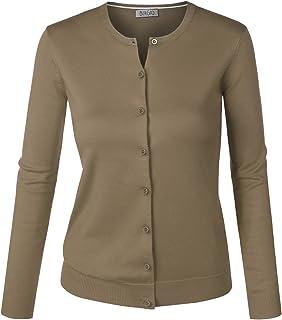BIADANI 女士系扣长袖圆领柔软针织开衫毛衣