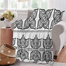 Luoiaax Henna Children's Blanket Antique Border Designs with Lotus Inspired Ornate Flower Figures Moroccan Details Lightweight Soft Warm and Comfortable W91 x L60 Inch Black White