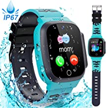 Kids Waterproof Smart Watch Phone GPS Tracker with SOS Two Way Call Micro Chat Touch Screen Camera Alarm Clock Math Game Gizmo Learning Toys for Age 3-12 Girls Boys Christmas Birthday Gifts (Blue)