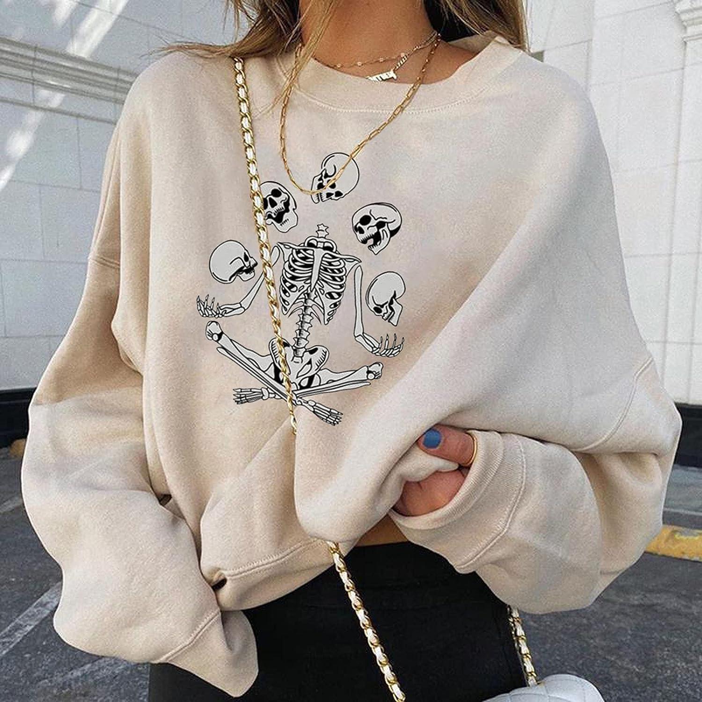 Womens Black Pullover Pumpkin Print Sweatshirt Long Sleeve Loose Tunic Shirts Tops Plus Size Sweatshirts