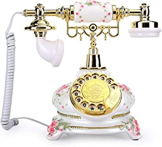 Rotary Dial Telephone, Retro Vintage Antique Resin Corded Telephone No Need External Power Supply Small Size Country Style...