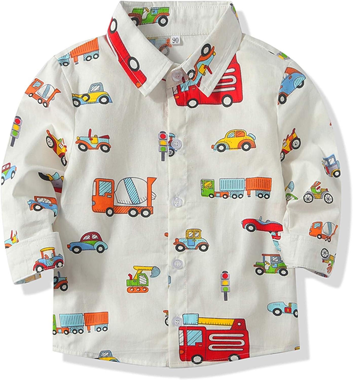 Baby Boy's Cartoon Car Print Aloha Shirt Summer Casual Button Down Short Sleeve Hawaiian Tops