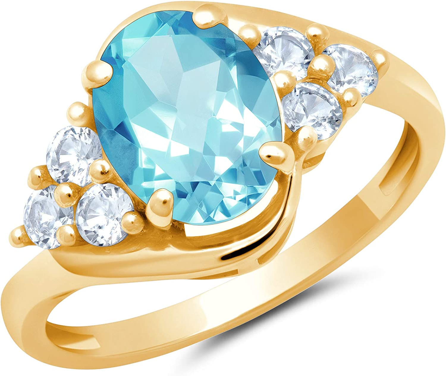 Solid 10K Yellow or White Gold Swiss Decembe Topaz Cut Oval Blue trend rank Indefinitely