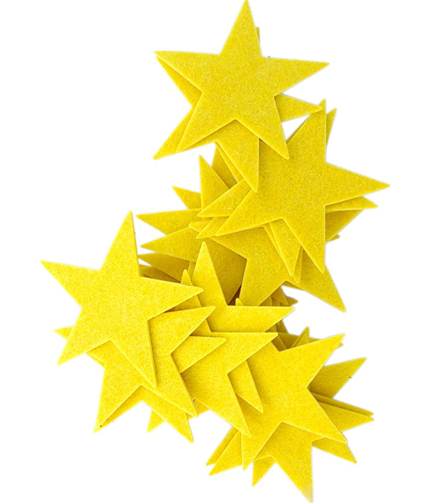 Playfully Ever After 3 Inch Yellow 22pc Felt Star Stickers