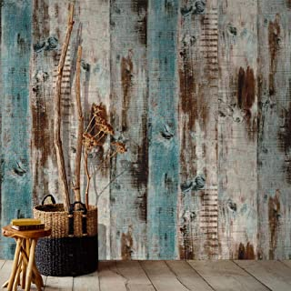 Orgrimmar 19.7ft x 17.8in Wood Peel and Stick Wallpaper Self-Adhesive Removable Wallpaper Covering Decorative Stick Film Vintage Wood Panel Wallpaper Vinyl Decal Roll
