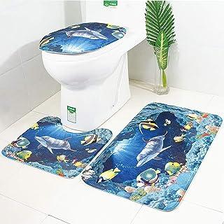 45 SUWIND 4 Teile//Satz Delphin Muster Bad Matte Set wasserdicht duschvorhang sockelteppich Set rutschfeste badematte Set Deckel toilettenabdeckung Matte mit 12 Haken wohnkultur a 75 cm