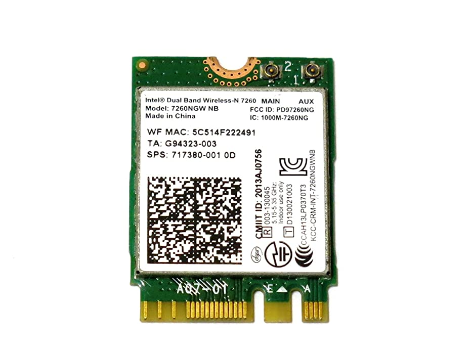インテル Intel Dual Band Wireless-N 7260 802.11agn dual-band, 2x2 Wi-Fi 300Mbps 7260NGW NB M.2(NGFF) 無線LANカード