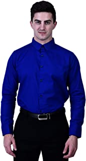 TIGER EXPORTS Men's Solid Cotton Formal Classic Collar Casual Full Sleeve Shirts