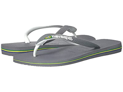 Havaianas Brazil Mix Flip Flops (Steel Grey/White/White) Men