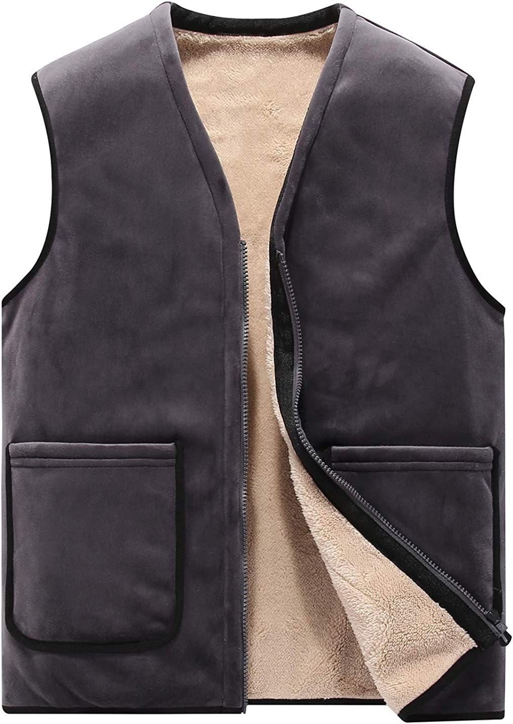 Flygo Men's Zip V-Neck Fleece Vest Winter Outdoor Warm Sherpa Lined Waistcoat Sleeveless Jacket