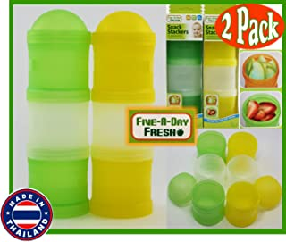 Five-A-Day Fresh On-The-Go Snack Stackers (Food Storage Containers) Green & Yellow Bundle - 2 Pack