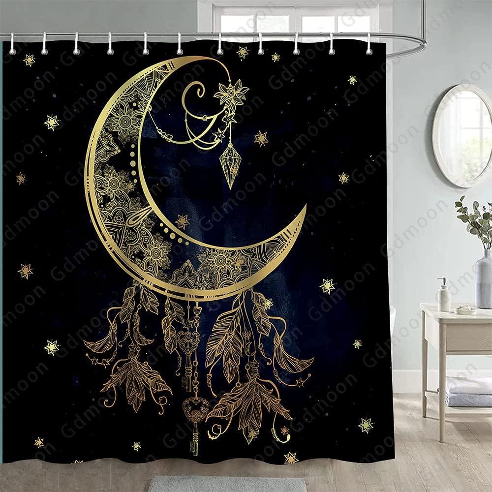 Gdmoon Financial sales sale Boho Gold Moon Shower Mandala Curtain Super special price Drea Star Celestial