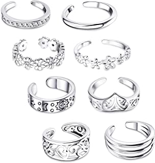 FIBO STEEL 8 Pcs Open Toe Rings for Women Arrow Tail Band Toe Ring Adjustable