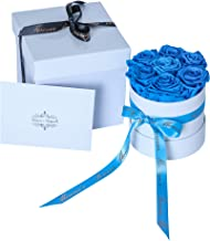 Bouquet of Preserved Blue Roses in a round box, Long Lasting Luxury Flowers that last a year, Bouquet of Flowers for Birthday