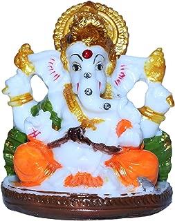 Unique Creation Small Ganesha Statue/Mini Lord Ganesh/Ganpati Polyresin Idol with Mukut - Design 5 (Assorted Multicolor)