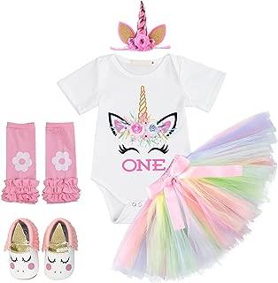 FYMNSI Baby Girl 1st Birthday Cake Smash Outfits Unicorn Costume Romper+Rainbow Tutu Skirt+Headband+Shoes+Leg Warmers