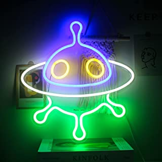 ineonlife Alien Spaceship Neon Signs LED Neon Lights UFO Neon Light Sign 16''x15'' Acrylic Night Light Blue Green Neon Sig...