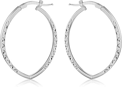 Tuscany Silver - Orecchini a cerchio ellittici in argento Sterling