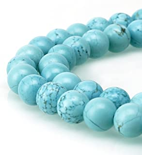 BRCbeads Turquoise Gemstone Loose Beads Round 10mm Crystal Energy Stone Healing Power for Jewelry Making- Chinese Blue Tur...