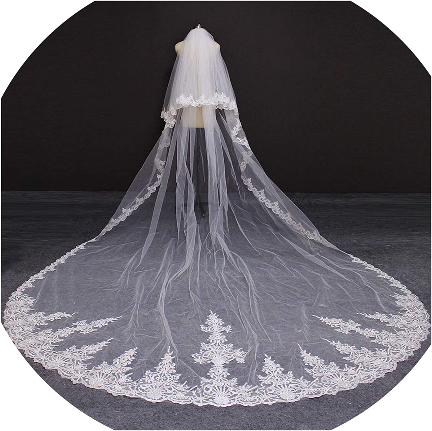 2019 2 Layers Lace Edge 4 Meters Wedding Veil With bluesher Cover Face White Ivory Bridal Veil With Comb,White