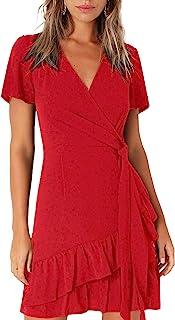Kate Kasin Women Mini Dress Wrap V Neck Casual Summer Dress Short Sleeves Ruffled Irregular Hem with Tie Belt