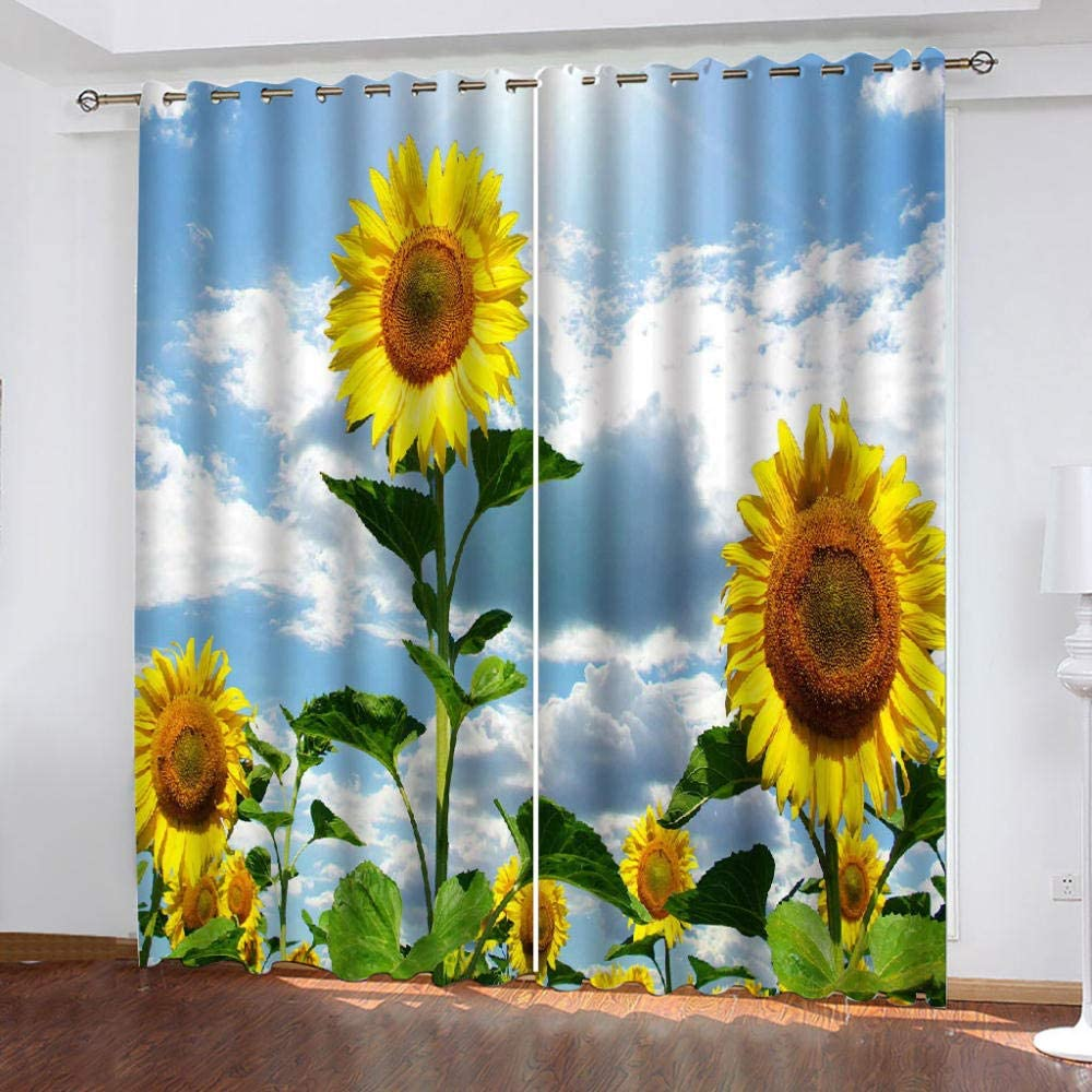 Super special price Thermal Insulated Grommet Special Campaign Curtains,Sunflower Win for Flower