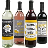 Retirement Party - Gifts for Women and Men - Wine Bottle Label Stickers - Set of 4