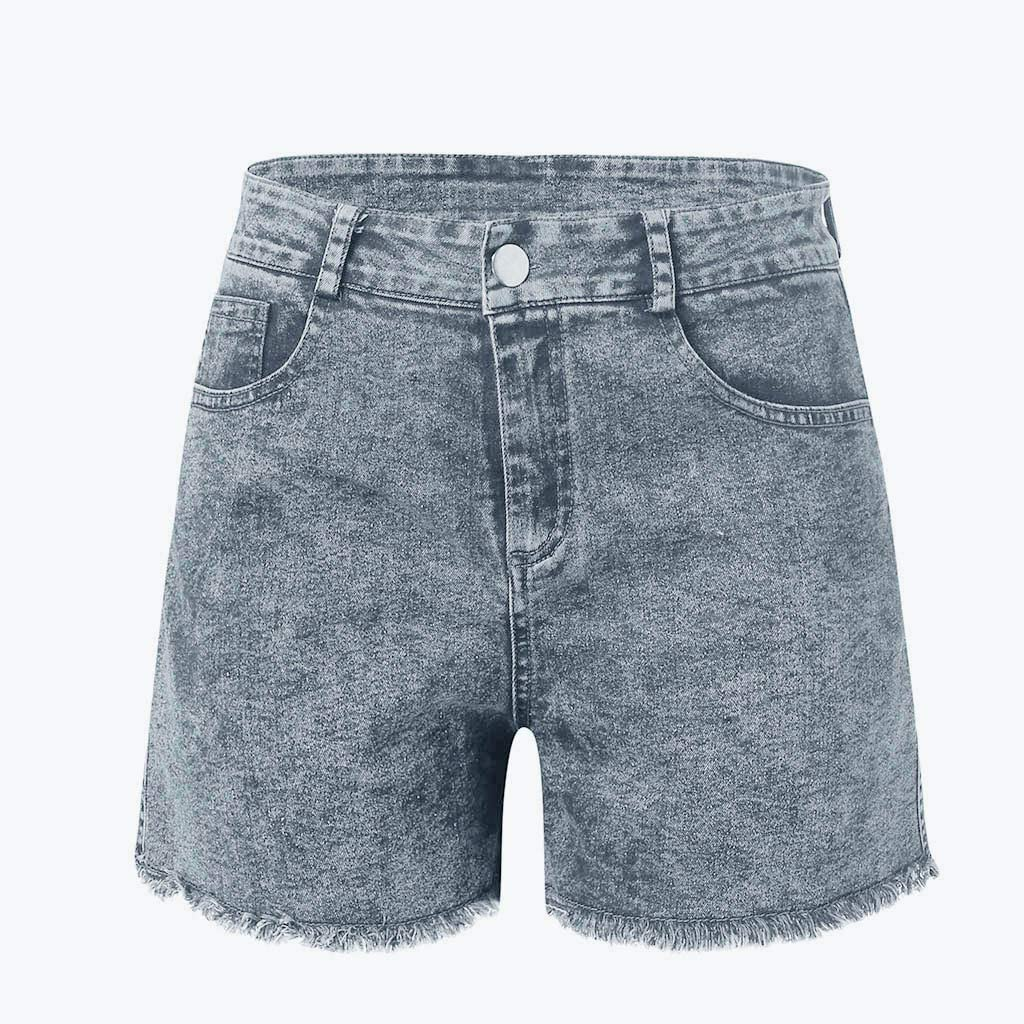HIRIRI Denim Hot Shorts for Women Casual Summer Mid Waisted Sexy Stretchy Short Pants with Pockets
