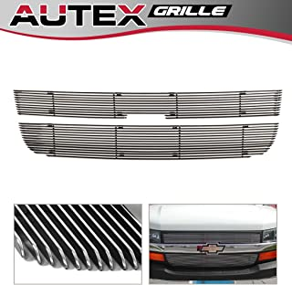 AUTEX 2pcs Chrome Polished Aluminum Main Upper Billet Grille Insert Compatible with 2003 2004 2005 2006 2007 2008 2009 2010 2011 2012 2013 2014 2015 2016 Chevy Express Grill C66436A
