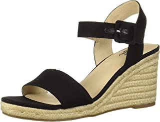 LifeStride Women's Tango Espadrille Wedge Sandal, Black, 6 W US
