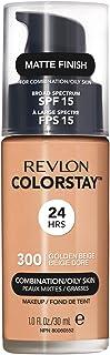 Revlon ColorStay Liquid Foundation Makeup for Combination/Oily Skin SPF 15, Longwear Medium-Full Coverage with Matte Finish, Golden Beige (300), 1.0 oz