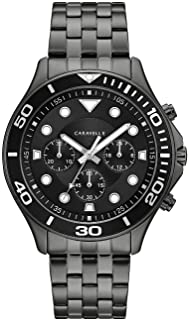 Caravelle Designed by Bulova Men's Quartz Watch with Stainless-Steel Strap, Black, 22 (Model: 45A144)