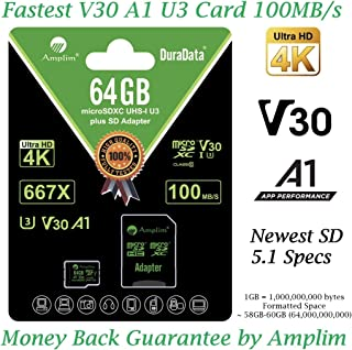 64GB Micro SD Card Plus Adapter - Amplim V30 A1 100MB/s 667X 64 GB MicroSDXC Memory Card Pack (Class 10 U3 UHS I TF XC) Mi...