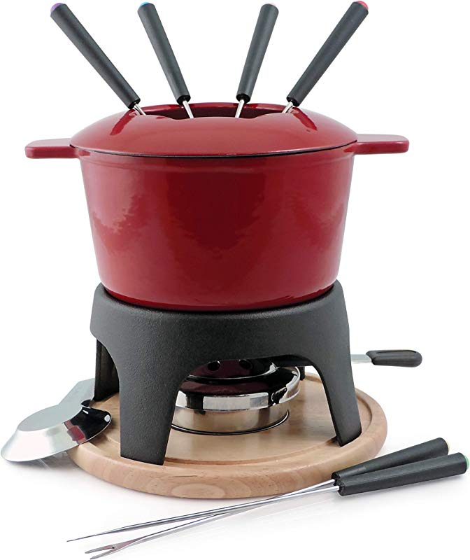 Swissmar F66705 Sierra 1 6 Quart Cast Iron Meat Fondue Set 12 Piece Cherry Red