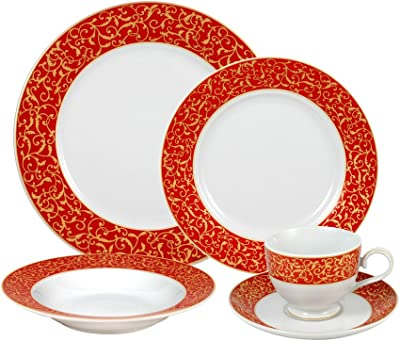 Mikasa Parchment Rouge Dinnerware Set, Service for 4, Red