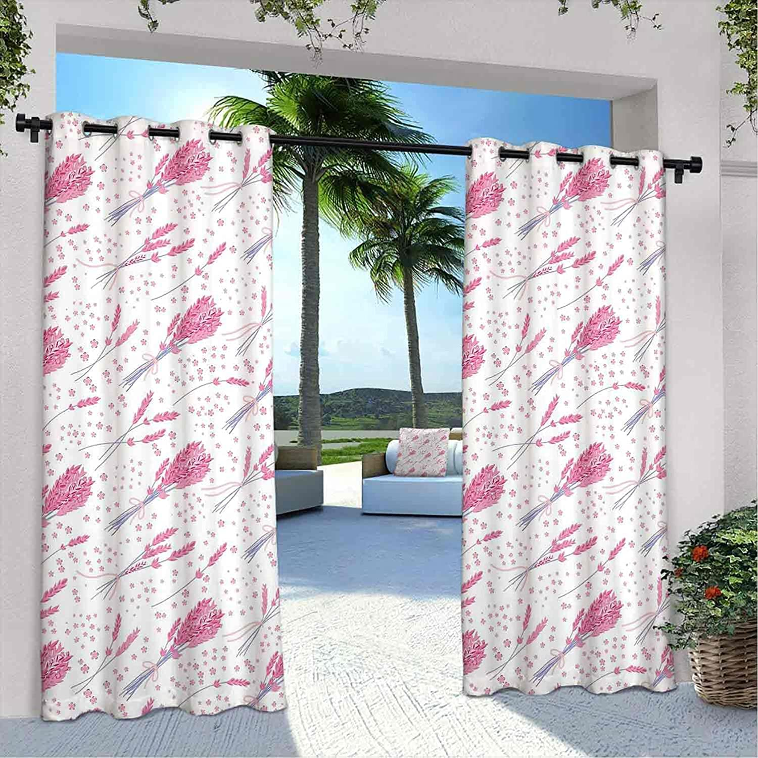 Terrace Outdoor Lavender Curtain New product Max 75% OFF Vintage Bouquets Ru Hand Drawn