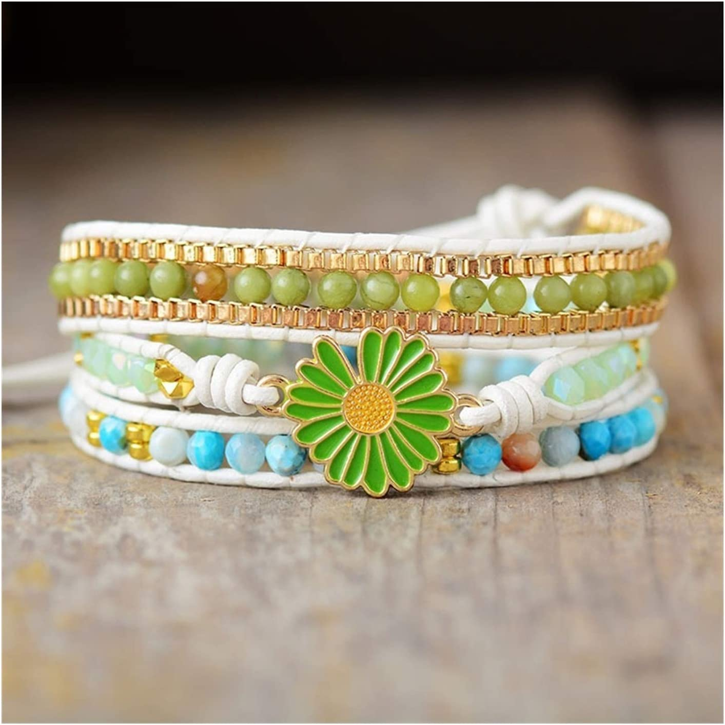 AOSUAI Fashion Leather Wrap Bracelets Stone Natural All items in the store NEW Charm Daisy