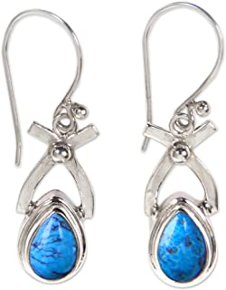 Natural Turquoise and .925 Sterling Silver Dangle earrings, Temptations'