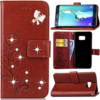 HAOTP Beauty Luxury 3D Fashion Handmade Bling Crystal Rhinestone Butterfly Floral Lucky Flowers PU Flip Stand Credit Card ID Holders Wallet Leather Case Cover for Samsung Galaxy Note 5 (Bling/Brown)