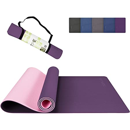TOPLUS Yoga Mat, Dot Texture TPE Exercise Mats Non-Slip Pro 1/4 Inch Thick Yoga Mats Eco Friendly Workout Mat with Carrying Strap -Fitness Mat for Yoga, Pilates and Floor Exercises
