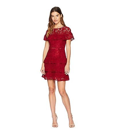 BB Dakota Aphrodite Ruffle Lace Dress (Rouge) Women