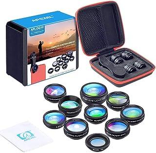 Apexel 10 en 1 Teléfono Kit de Lentes para cámaras Objetivo Gran AngularMacro Ojo de pezTelefoto Lente KaleidoscopsCPL/Flujo/Estrella/Radial Filtro Teléfono Clip para iPhone Smartphones