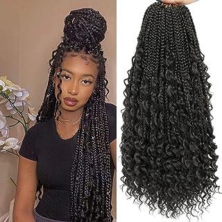 Crochet Box Braids Curly Ends 144 Strands 22 Inch Bohomian Crochet Braids Box Braids 3X Goddess Box Braids Crochet Hair Sy...