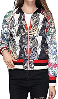 Recious Womens Long Sleeve Tiger Floral Printed Zipper Thin Lightweight Bomber Coat Jackets