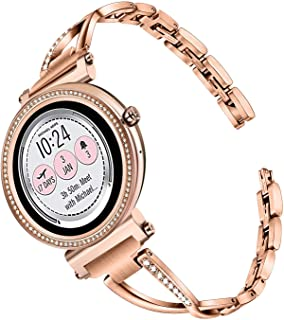 TRUMiRR Watchband for Michael Kors Women's Access Runway/Sofie/Sofie HR Touchscreen Smartwatch, 18mm Diamond & Stainless Steel Watch Band Quick Release Strap for MK Access Sofie/Runway