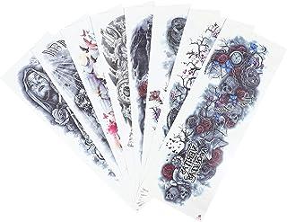 Beaupretty 8 stuks tattoostickers, schedelpatroon, lichaamsstickers, valse tijdelijke tattoohuls, lijm, armstickers voor H...