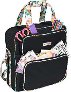 Everything Mary Deluxe Black & Floral Scrapbook Carrying Storage Tote - Compatible with Standard IRIS Boxes – Portable Travel Craft Bag with Handle & Shoulder Strap for Pages, Paper