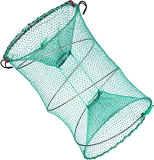 Drasry Fishing Bait Trap for Crawfish Shrimp Net Portable Accessories 11.8in x 5.9in (30cm x 40cm) 0.28 Inch Mesh Collapsi...