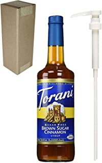Torani Sugar Free Brown Sugar Cinnamon Flavoring Syrup, 750mL (25.4 Fl Oz) Glass Bottle, Individually Boxed, With White Pump